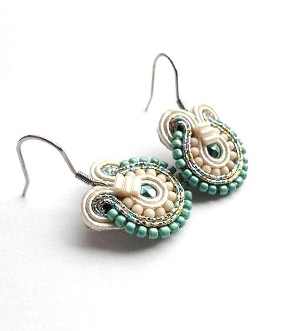 Mariage - Teal Earrings Bridal Drop Earrings Teal Bridesmaid Jewelry Soutache Earrings Teal Wedding Jewelry Bridesmaid Earings Wedding Earrings Ocean