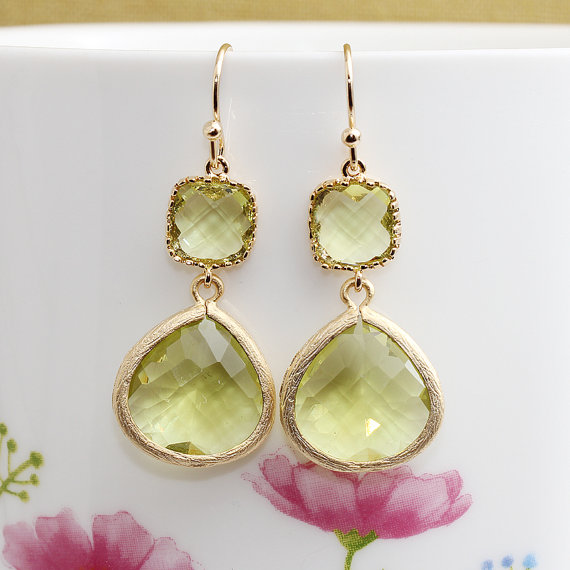 Hochzeit - Gold Plated, Simple French Earwire, Square Framed Light Green Glass Stone Connector, Framed Muti Color Cubic Stone Droplet, Earring