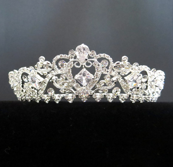 Boda - Bridal tiara, Gold Wedding tiara, Silver Bridal tiara, Gold bridal headpiece, Bridal headband, Rhinestone tiara