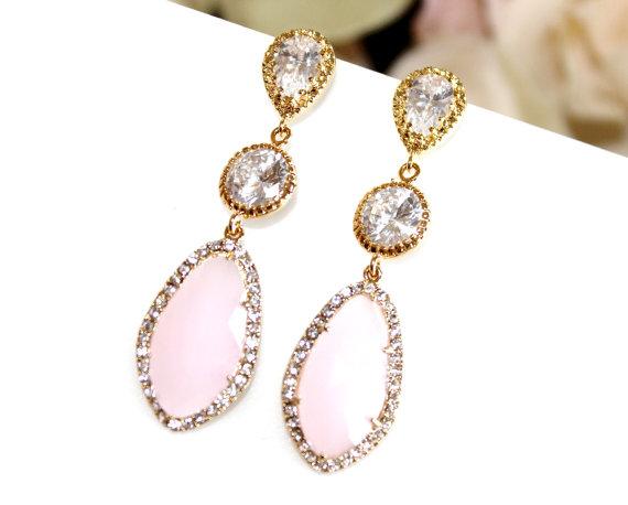Mariage - Blush Pink Earrings ,Pink Opal Gold Wedding Earrings, Bridemaid Gift, Pink Post Earrings, Pink Dngle, Drop,post earrings
