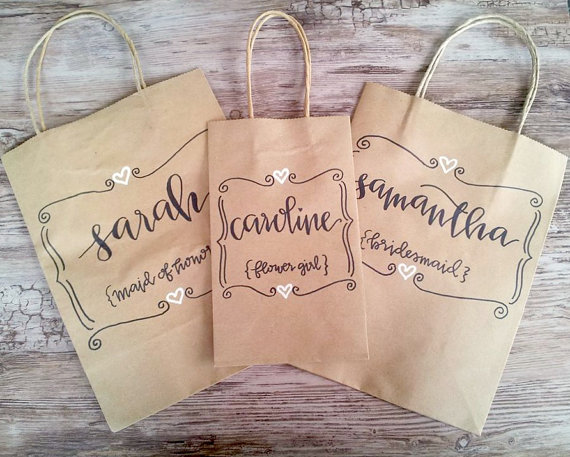 Düğün - custom personalized bridesmaid gift bags.
