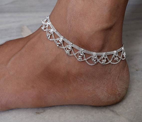 Silver Anklet Indian Ankle Bracelet Gypsy Foot Jewelry Belly Dance Bells Chain Ethnic