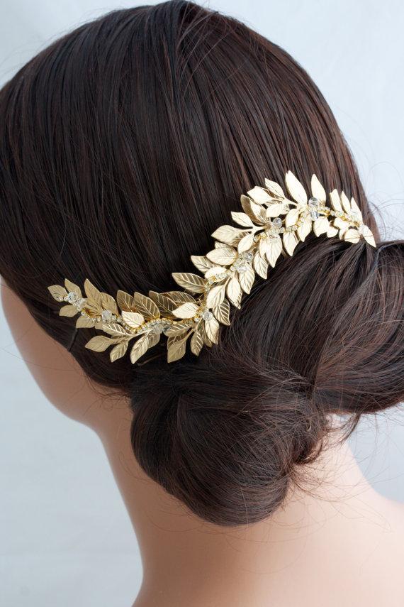 Hochzeit - Grecian Head Piece Gold Leaf Wedding Hair comb Matt Gold Hair Vine Vintage Hair Accessory   ABELLA COMB