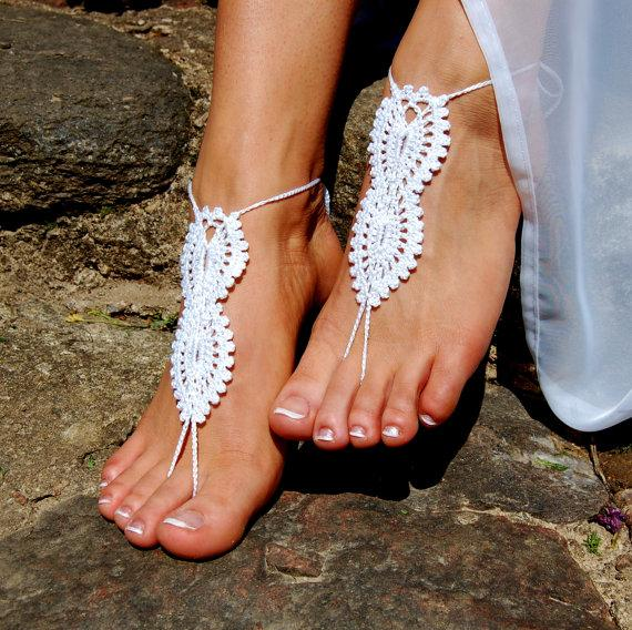 Mariage - Crochet Barefoot Sandals, Beach Shoes, Wedding Accessories, Nude Shoes, Yoga socks, Foot Jewelry
