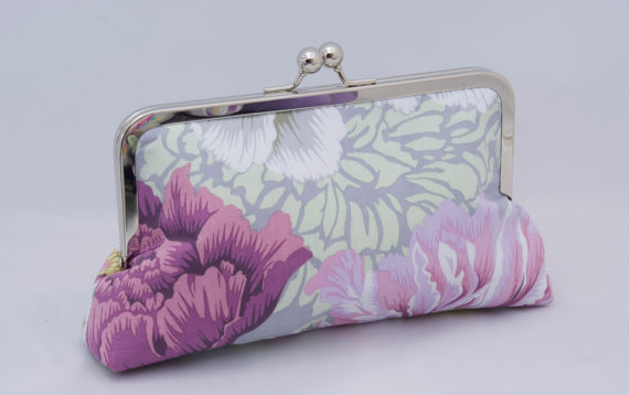 Mariage - Floral Clutch in Purple Pink and Gray Peonies- Perfect Holiday Gift or Wedding Party Gift - Design your own in various fabrics.