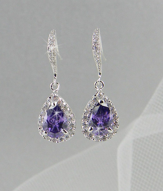 Crystal Bridal Earrings Wedding Jewelry Swarovski Ariel Purple Drop