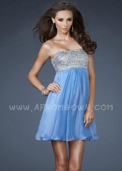Hochzeit - Periwinkle La Femme 18063 Short Layered Babydoll Prom Dress