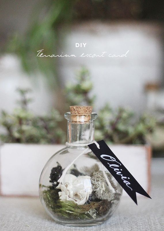 Свадьба - DIY Terrarium Escort Cards By Kelli Murray