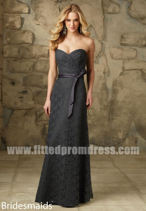 2017 Charcoal Mori Lee 103 Full Length Lace Bridesmaid Dresses