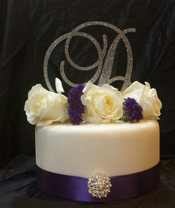 5 Tall Silver Or Gold Glitter Acrylic Cake Topper Wedding Cake