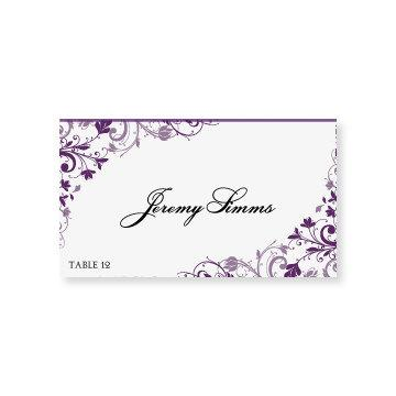 instant download wedding place card template chic bouquet plum foldover microsoft word