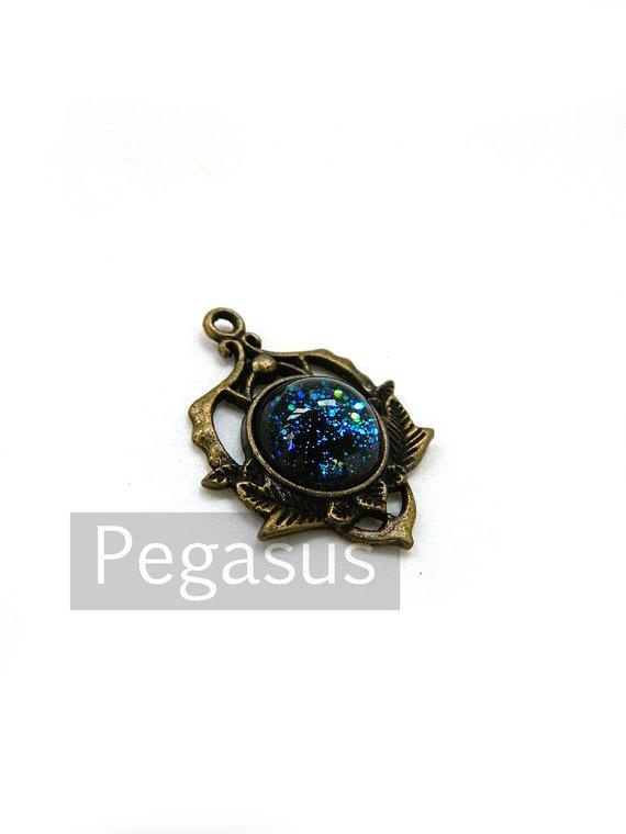 Mariage - Nebula Blue Opal Glass Cabochon Pendant (2 piece)(9 color option) 12mm cabochon bronze jewelry Pixie Court Fauna Pendant