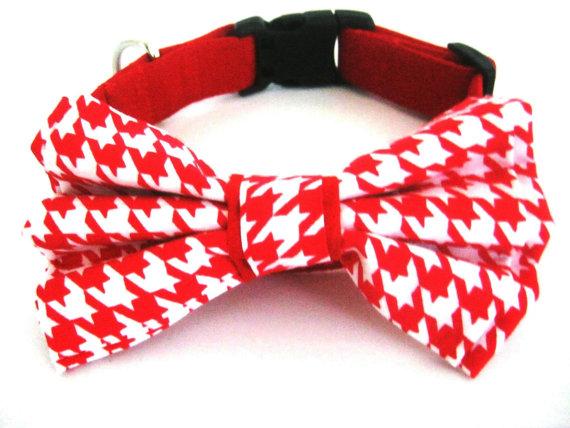 Свадьба - Dog collar with bow tie Red dog collar with removable bow tie Pet collar Bow tie dog collar
