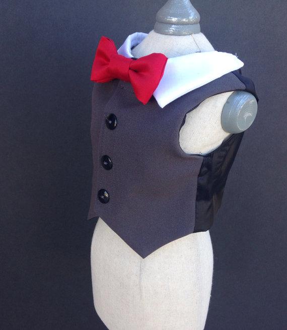 زفاف - Gray Dog Tuxedo Vest (custom options available)