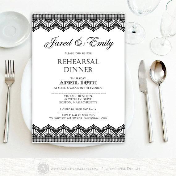 rehearsal dinner invitation printable black lace weddings