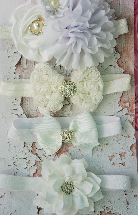 Mariage - SALE  baby girl white headband set of 4, assorted, Buy in bulk and save, perfect for new borns to toddlers,  photo props, baptism, weddings.