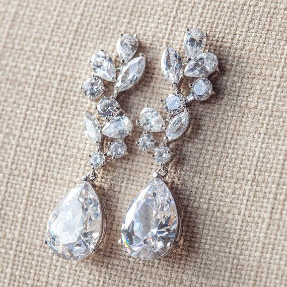Long Bridal Earrings Crystal Drop Diamante Silver Wedding Jewelry Teardrop Cz