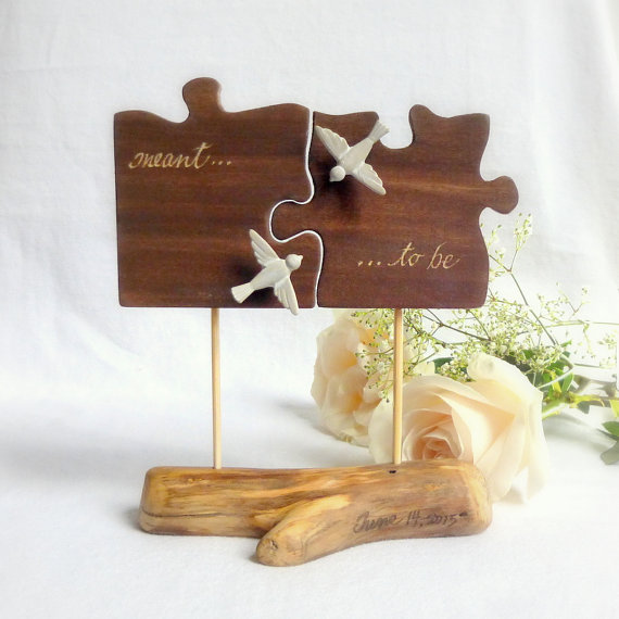Rustic Wedding Cake Topper Puzzle Piece Cake Topper Love Bird Cake