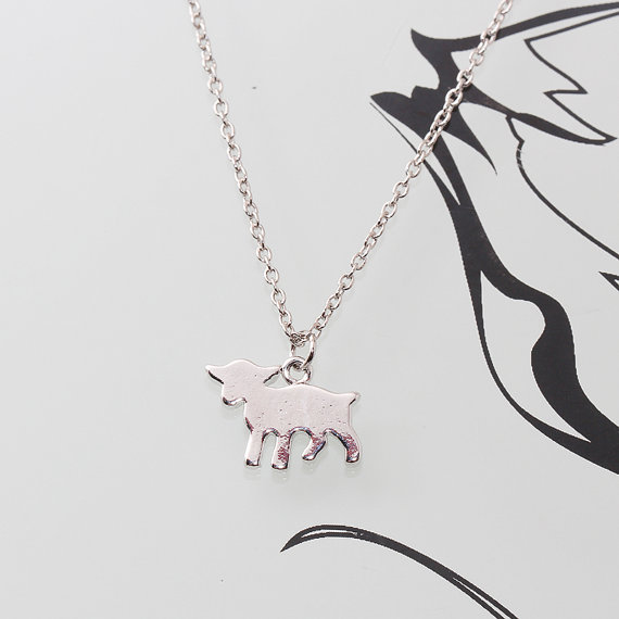 Свадьба - Gold or Rhodium Plated, Simple Baby Goat Silhouette Charm, Necklace
