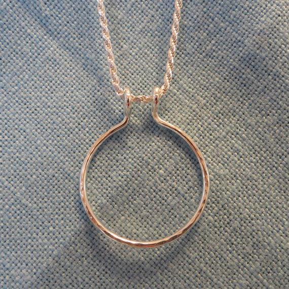 Mariage - Duel Charm Holder Necklace Silver Engagement Ring Pendant Circle  JJDLJewelryArt