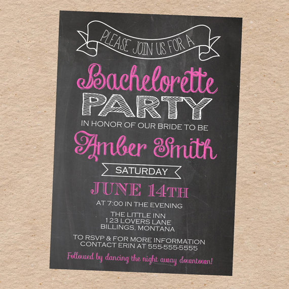 Hochzeit - Chalkboard Bachelorette Party Invitation- Custom DIY Printable
