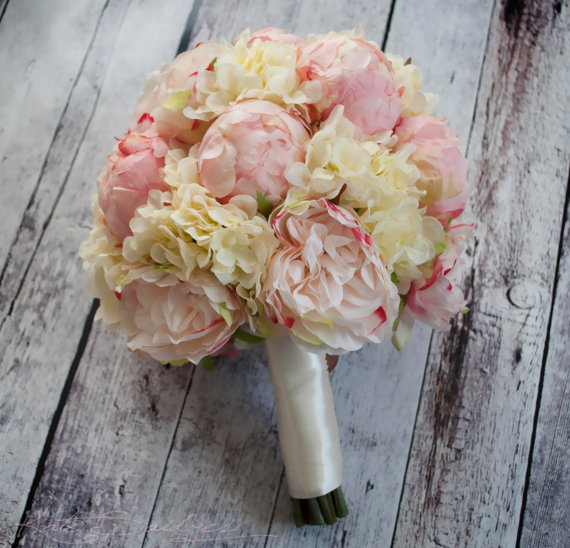 Свадьба - Peony Bouquet - Ivory and Blush Peony Hydrangea and Rose Wedding Bouquet