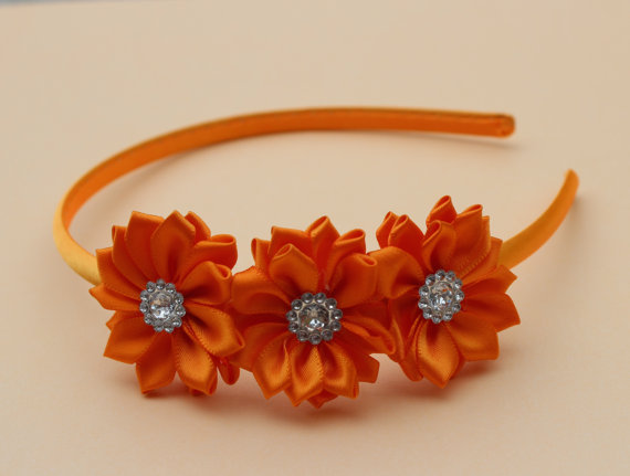 Orange headband Orange flower girl headband plastic headband satin headband  toddler headband orange wedding headband orange hair accessory bdd78caa701