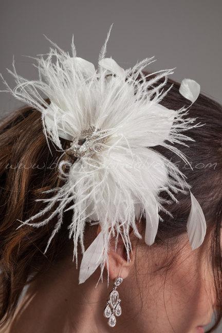 Wedding - Bridal Feather Head Piece, Soft White or Ivory, Swarovski Rhinestone Center, Wedding Hair Birdcage Fascinator - Catalina