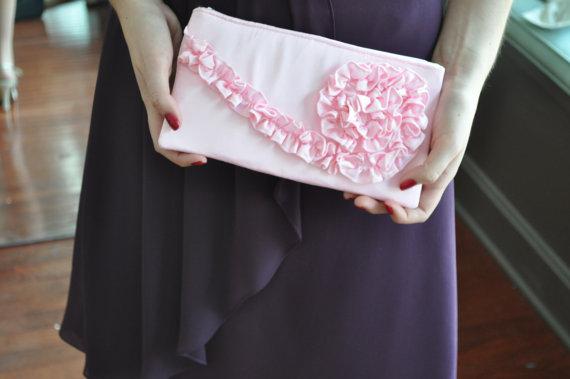 Свадьба - Clutch -  peppermint pink satin, Wedding Bridal Bag, Bridesmaids Ruffle Purse, Prom Pink Clutch, formal bag, black tie event accessory