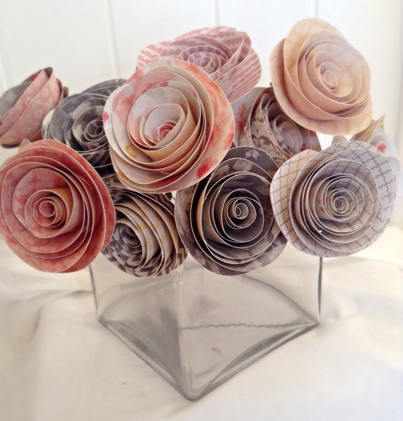 Paper Flowers Paper Roses Pink Roses Wedding Centerpieces Bridal