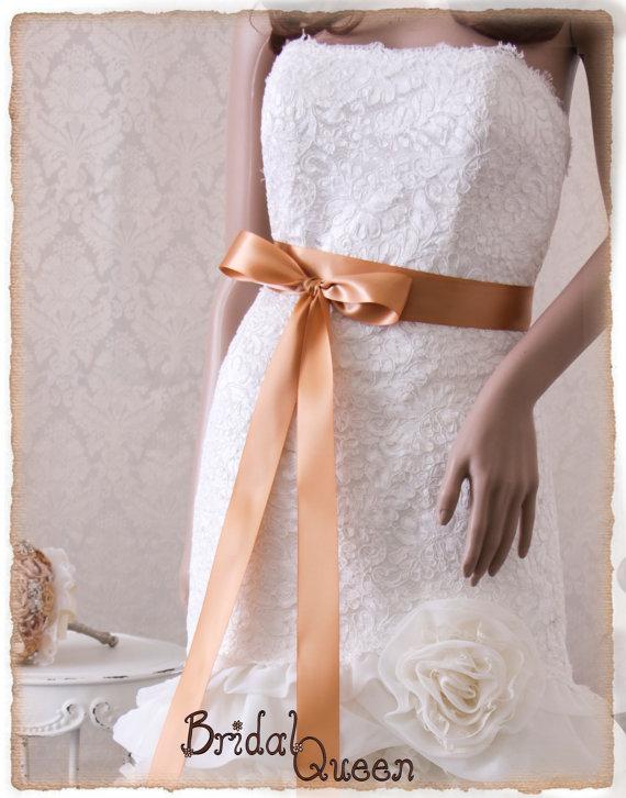 Mariage - CAMEL Satin Bridal Sash, Wedding Dress Sash, Satin Ribbon Bridal Belt, Bridal Sash, Bridesmaids Sash