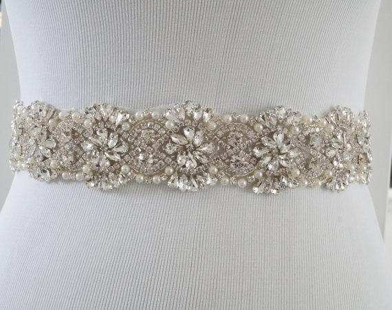 Свадьба - Bridal Sash Belt, Bridal Belt, Sash Belt, Wedding Dress Belt, Crystal Rhinestone Belt, Style 156