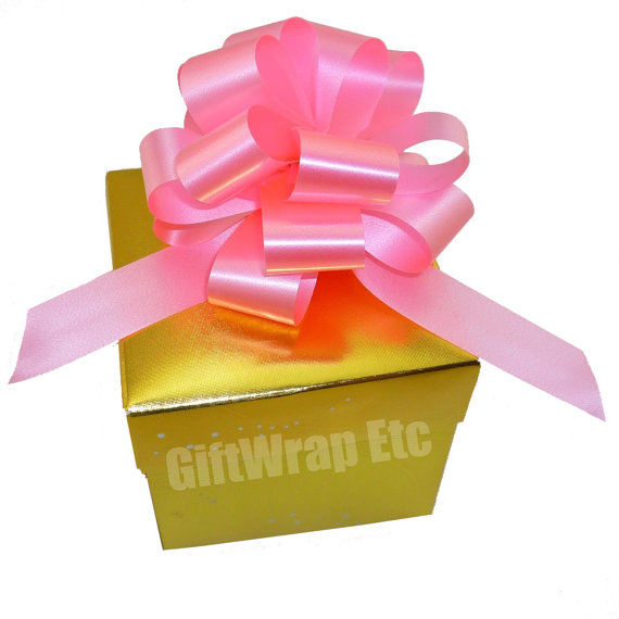 Свадьба - 10 Azalea Pink Pull Bows Gift Wrap Wedding Bouquet Baby Shower Decorations