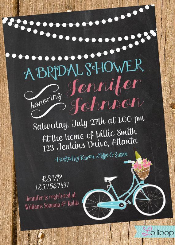 Hochzeit - Vintage Chalkboard Bridal Shower Printable Party Invitation, Personalized Chalkboard Bridal Shower Invite