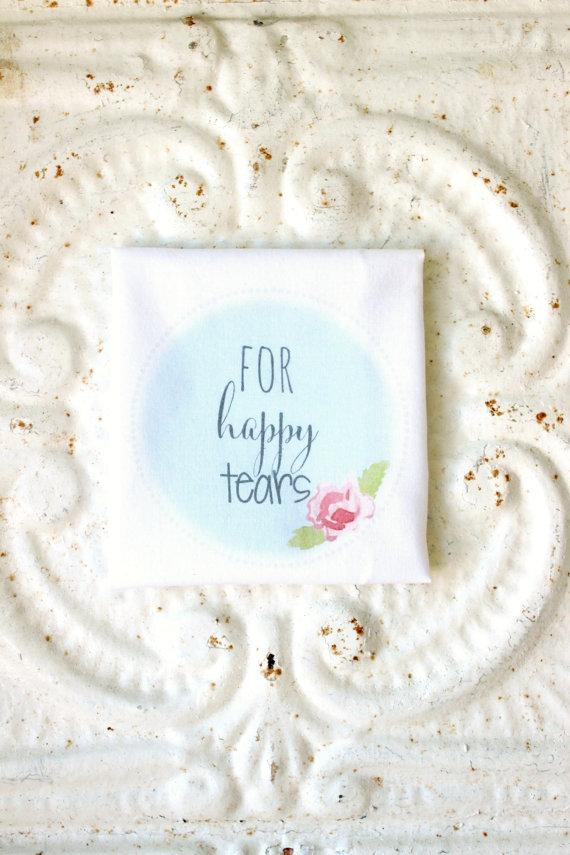 Wedding - for happy tears handkerchief . printed hankie . scalloped edge cotton wedding hankie . family friend . guest . wedding party . cottage chic