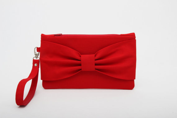 Wedding - Promotional sale   - -Red bow wristelt clutch,bridesmaid gift ,wedding gift ,make up bag,zipper