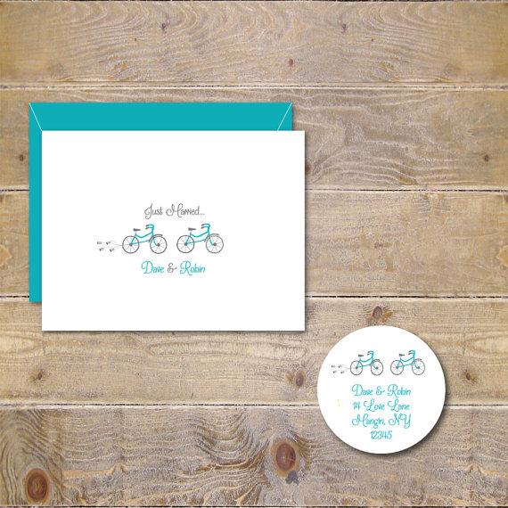 Hochzeit - Bicycle Wedding Thank You Cards, Bicycle Cards, Just Married Cards, Wedding Thank You Cards, Tandem Bike, Wedding Thank You Cards