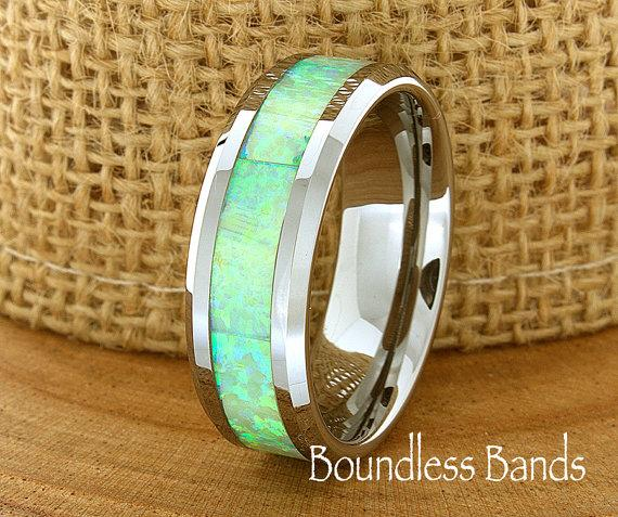 Wedding - Opal Wedding Band Flat High Polished Beveled Customized Tungsten Band Any Design Laser Engraved Ring Mens Tungsten Ring Modern New Classic