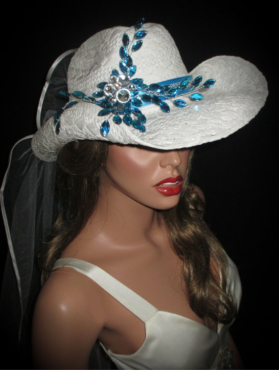 Wedding - COUTURE COWGIRL BRIDE- White & Turquoise Rhinestone Bridal Cowgirl Hat, Wedding Cowgirl Hat With Veil, White Straw Bachelorette Cowboy Hat,
