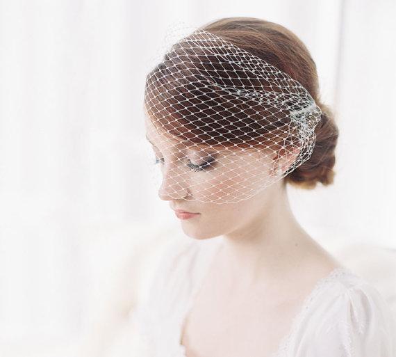 Hochzeit - Bridal birdcage bandeau blusher veil - French net - Style 1974