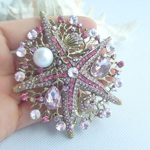 Wedding - Golden Tone Rhinestone Starfish Brooch, Gorgeous Starfish Brooch Pin w Pink Rhinestone Crystal, Costume Jewelry, Gift - BP06412C7