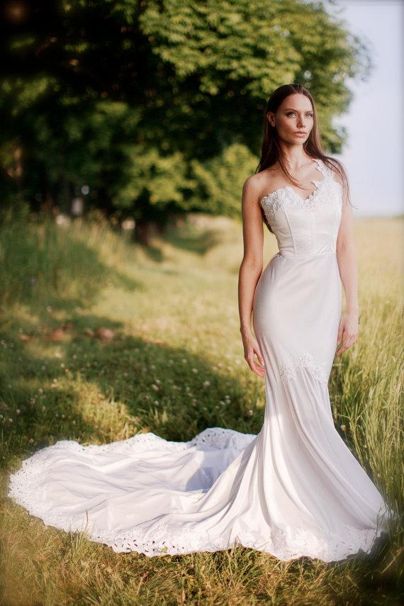 Ashley Is A Gorgeous One Shoulder Wedding Dress Mermaid Style With Scallops On The Bottom