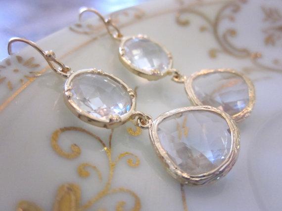 Mariage - Gold Crystal Earrings Clear - Teardrop Circle Glass Earrings - Bridesmaid Earrings - Bridal Earrings - Wedding Earrings - Bridesmaid Jewelr