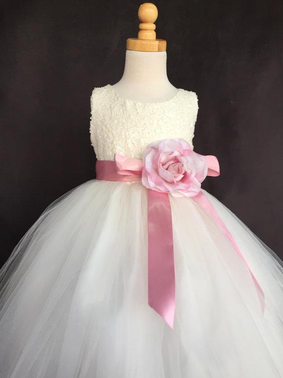 Свадьба - Ivory Wedding Bridal Bridesmaids Sequence Tulle Flower Girl Dress Toddler 9 12 18 24 Months 2 4 6 8 10 12 14