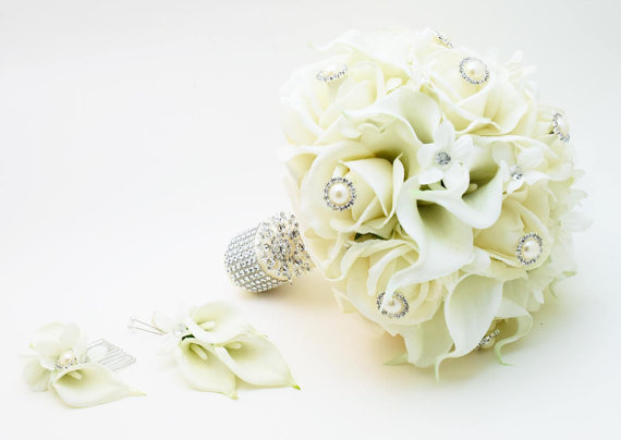 Свадьба - Reserved- Silk Flower Bridal Bouquet Stephanotis Real Touch Roses Real Touch Calla Lilies with coordinating Groom's Boutonniere