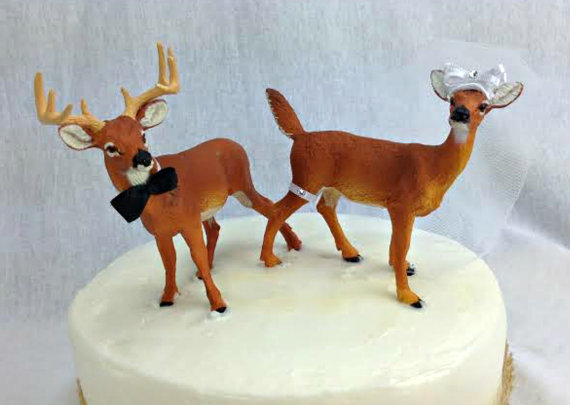 زفاف - Deer wedding cake topper-Buck and Doe wedding cake topper- Hunter Hunting wedding cake topper-country western wedding cake top-sherisewsweet