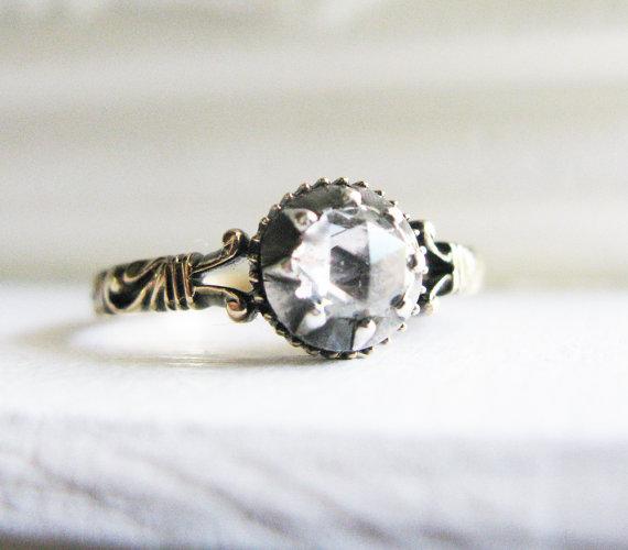 Свадьба - Art Deco Rose Cut Diamond 18K Gold Engagement Ring -Victorian style- ca 0.3ct