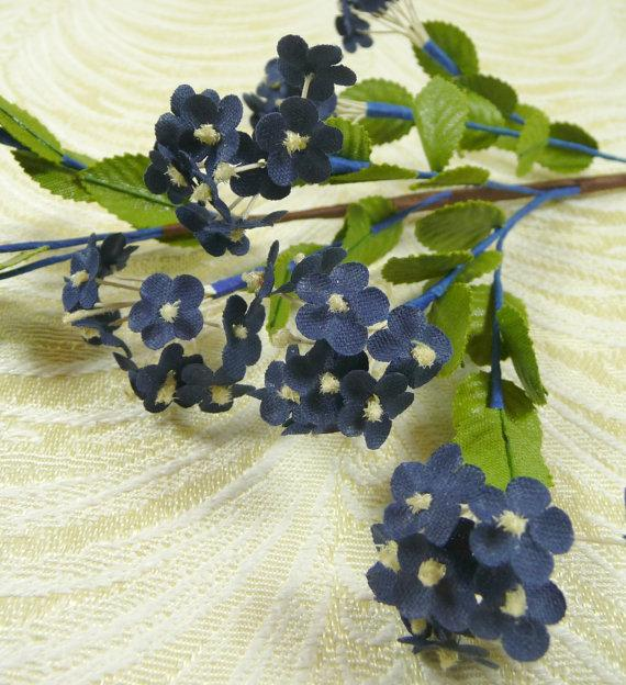 Mariage - Vintage Forget Me Nots Spray of Navy Blue with Leaves for Weddings, Bridal, Hats, Wreaths, Head Bands, Floral Arrangements