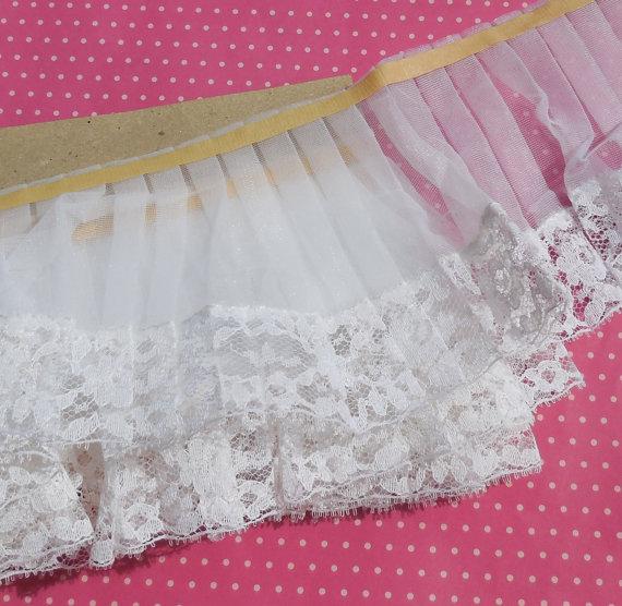 Mariage - Vintage Lace Trim Pleated Trim Lingerie Trim Nylon Ruffle Off White