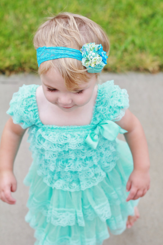 Свадьба - lovely aqua lace dress headband SET,aqua Toddler Dress,aqua dress,Flower girl dress,First/ 1st Birthday Dress,Vintage style,photo outfit